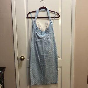 Light blue Stop staring halter wiggle dress